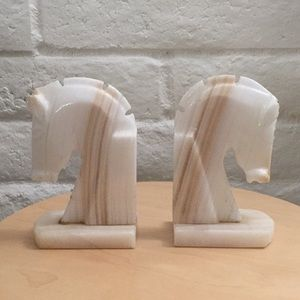 Vintage Onyx Horse Bookends